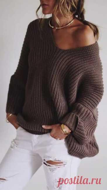Вязаный пуловер оверсайз с V-образным вырезом,описание