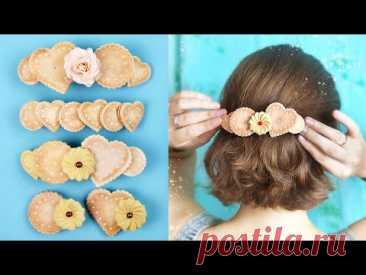 ЗАКОЛКИ с печеньем из фоамирана 🍪 Заколочки своими руками / Украшения для волос DIY foamiran