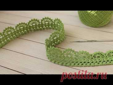 Простое ЛЕНТОЧНОЕ КРУЖЕВО вязание крючком КАЙМА мастер-класс для начинающих  Crochet Lace Ribbon