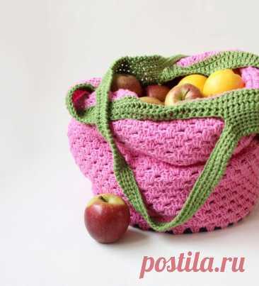 Бабушкина сумка для рынка, вязание крючком