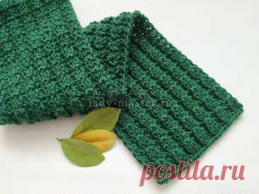 Теплый шарф спицами с узором «Ломанная резинка» - мастер-класс с фото