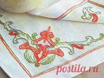 Урок вышивки: стебельчатый шов для начинающих ~ Свое рукоделие Стебельчатый шов – один из самых распространенных швов в декоративной вышивке. Описание техники выполнения и схемы рисунков.