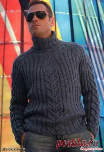 . Мужской свитер спицами
