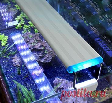 Аквариумный светильник Почему пригодится: У этого светильника изысканный тонкий корпус, водонепроницаемый, простой и стильный. Ребристая верхняя конструкция, быстрое отведение тепла и длительный срок службы. Регулируемый кронштейн подходит для аквариумов различных спецификаций. Качественные импортные светодиодные лампы позволяют делать фотосессии.