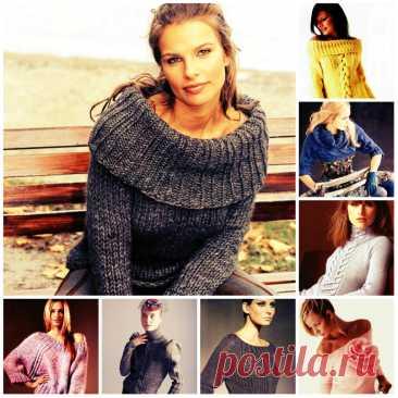 Красивые вязаные свитера для девушек - фото и схемы