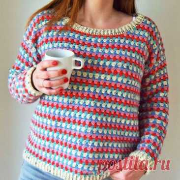 Узор для яркого пуловера с полосатыми мотивами