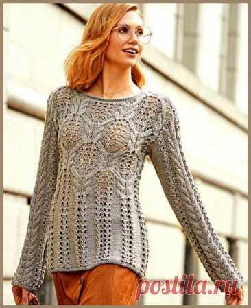 Серый джемпер с красивым сочетанием ажура и кос #knitting #вязание_спицами #джемпера_спицами