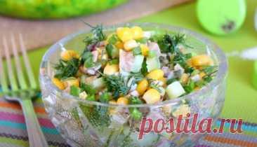 Салат из Печени Трески с Рисом и Кукурузой за 20 минут Простой рецепт салат из печени трески с рисом и кукурузой и свежим огурцом. Салат из печени трески получается очень вкусным и свежим.