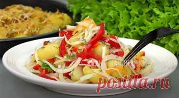 Тёплый картофельный салат: неделю уже готовлю - и всё равно едят с удовольствием | Кухня наизнанку | Яндекс Дзен