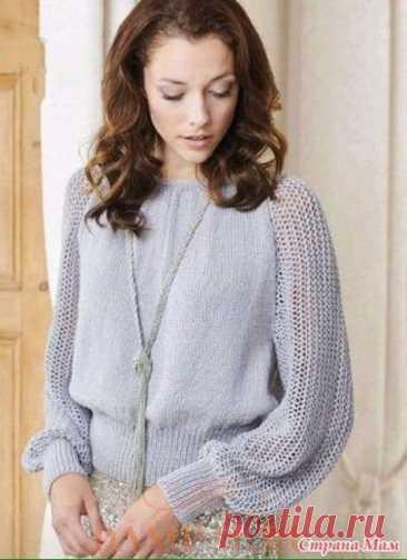 Джемпер спицами из мохера с ажурными рукавами #knitting #вязание_спицами #джемпера_спицами