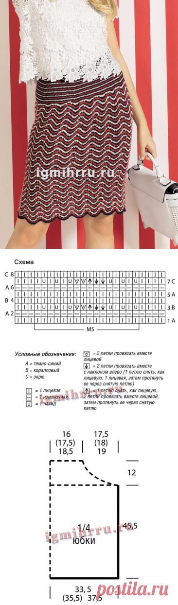Юбка-карандаш с волнистым узором, связанная единым полотном. Вязание спицами
