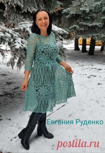 Порадовала себя новым платьем Для вязания использовала бобинную пряжу белорусского производства, состав 30 % шерсти и 70 % акрила, в 100гр. 1600 метров, расход на 48-50 размеры около 350гр.. ................... Работа нашей подписчицы.