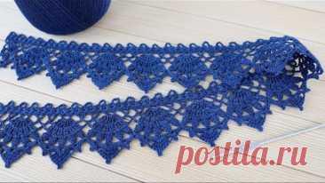 Красивое КРУЖЕВО крючком ВЯЗАНИЕ для начинающих КАЙМА схема узора Crochet Tape Lace Edge pattern