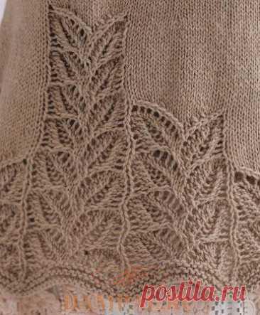 Летняя кофточка украшена по нижнему краю ажурным рисунком (Вязание спицами) – Журнал Вдохновение Рукодельницы