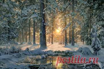 Рыжее солнце проснулось под утро. Рыжее солнце проснулось под утро, Молча смотря на заснеженный лес. Наст у дерев отливал перламутром. Красила зоренька полог небес.