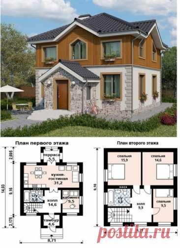 Дом в 110 кв.м. Милота. Нравится решение с камнем и деревом.