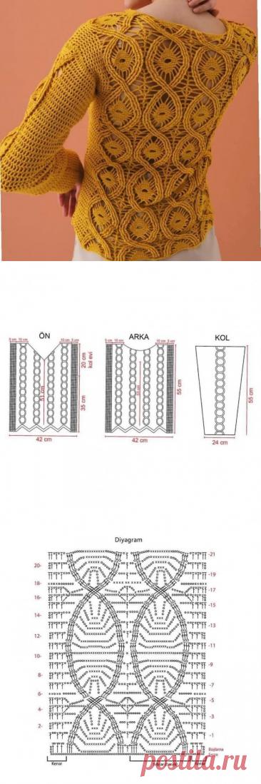 Пуловер крючком, стильная модель ажурным узором