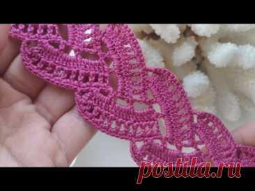 """Узор крючком """"Сердечки"""" для начинающих/ Ленточное кружево/Crochet Lace/"""