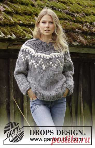Sira / DROPS 195-21 - Free knitting patterns by DROPS Design Knitted jumper with round yoke in DROPS Polaris. Piece is knitted top down with high collar and Nordic pattern in moss stitch. Size: S - XXXL