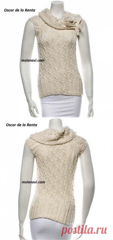 Летняя кофточка спицами от Oscar de la Renta   Вяжем с Лана Ви