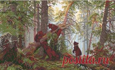 Los ositos en el bosque. El cuadro de Shishkina. El bordado por la cruz, el esquema