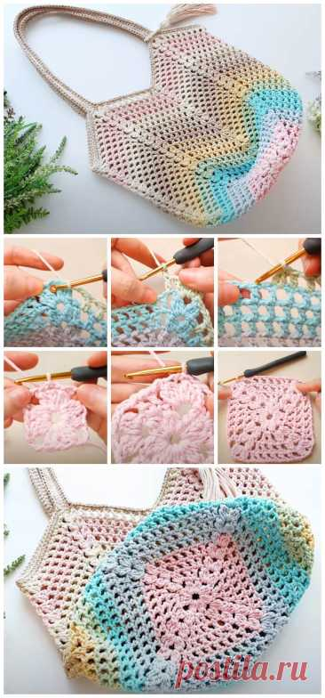 Учебник по вязанию сумки Granny Square - Crochet Kingdom