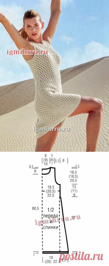 Светлое летнее платье А-силуэта с ажурным узором. Вязание спицами