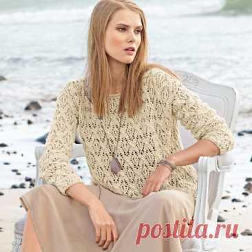 #вязаный_пуловер@modnoe.vyazanie Ажурный пуловер.  Размеры 36 (40/42) 46 Показать полностью...