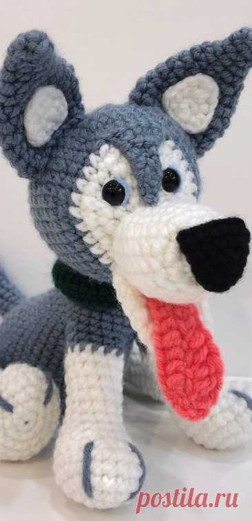 PDF Хаски крючком. FREE crochet pattern; Аmigurumi animal patterns. Амигуруми схемы и описания на русском. Вязаные игрушки и поделки своими руками #amimore - собака породы Хаски, пёс, собачка, щенок, пёсик.