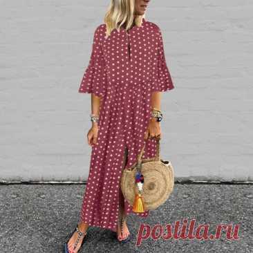 Осень 2021, Свободное длинное платье VONDA с расклешенными рукавами, богемное платье, винтажный сарафан в горошек, праздничный Повседневный свободный пляжный Халат|Платья| | АлиЭкспресс