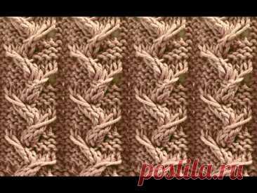 Узор ''Росток из перекрученных петель''. Видео МК   Вязание спицами для начинающих