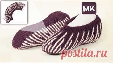 🆕 Полосатые домашние тапочки спицами /Striped slippers knitting pattern