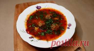 Томатный супчик с фрикадельками и булгуром в кавказском стиле, пошаговый рецепт с фото