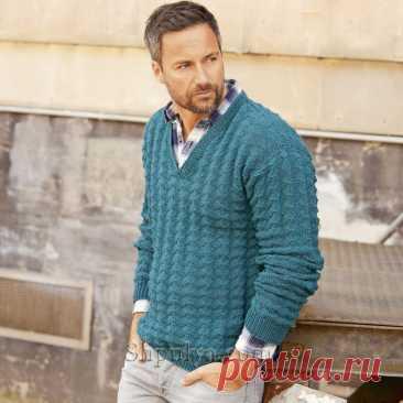 Мужской пуловер с V-образным вырезом и узором из ромбов — Shpulya.com - схемы с описанием для вязания спицами и крючком
