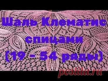 Шаль Клематис спицами -(19 - 54 ряды)