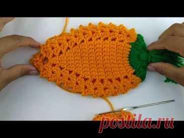 Zanahoria tejida a crochet paso a paso.