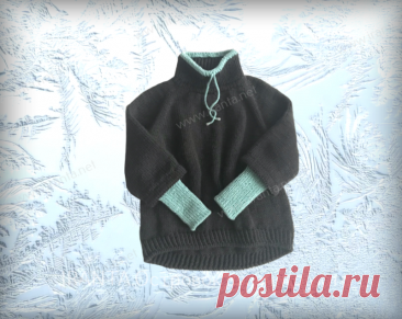 """Свитер-реглан """"Simple sweater"""" в спортивном стиле спицами"""
