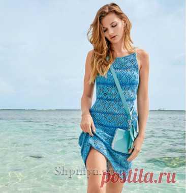 Ажурное летнее платье синими полосами спицами — Shpulya.com - схемы с описанием для вязания спицами и крючком