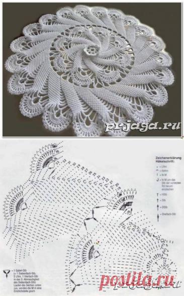 Салфетка крючком «Круговорот», схема