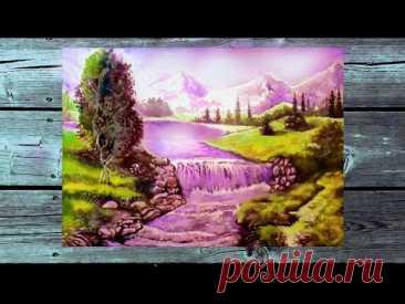 Как нарисовать пейзаж. Горы. Водопад,. Как рисовать акварелью по-мокрому