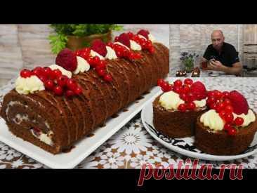 Шоколадный рулет с фруктами и масляным кремом. РУЛЕТ СОВЕТУЮ ПРИГОТОВИТЬ ВСЕМ - ПРОСТО ОБЪЕДЕНИЕ !!! - YouTube