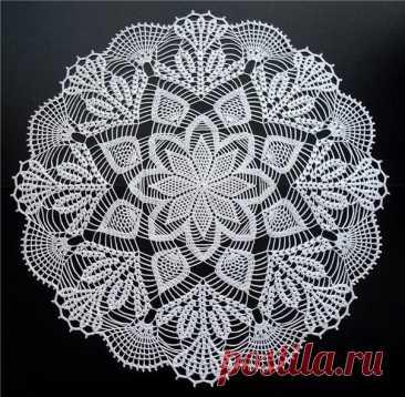 Схема вязания салфетки крючком «Морозное кружево»