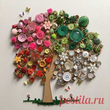Идеи прекрасных деревьев из пуговиц