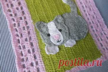 "Master class in knitting of a napkin ""Cat\"" hook 