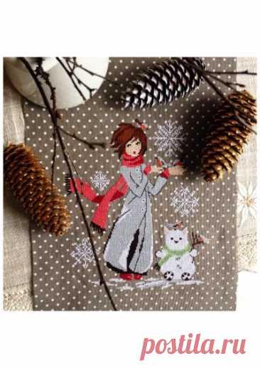 схема для вышивки крестом Зима, зима...