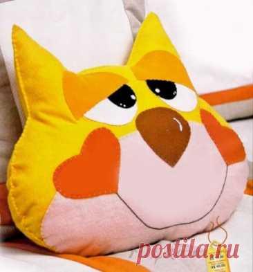 «Солнечный кот», выкройки подушек - игрушек своими руками.