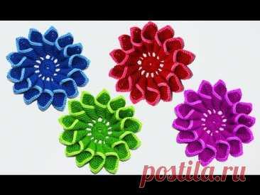 МК Красивый цветок крючком. Crochet flowers