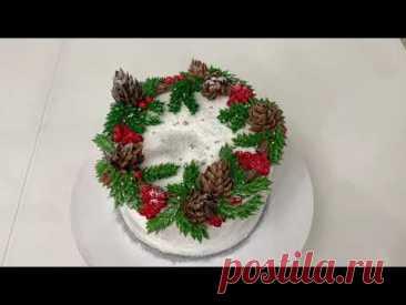 Самое ПРОСТОЕ украшение НОВОГОДНЕГО Торта! Шишки из БЗК! Идея Украшения торта! Красивый торт!