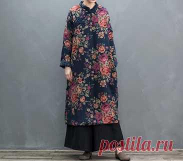 Womens Winter midi dress Warm dress retro dress Women robe | Etsy