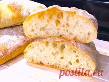 ХЛЕБ БЕЗ ЗАМЕСА Чистые Руки Ароматный Домашний Хлеб, долго остается свежим. ЧИАБАТА.